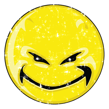 Smiley Face - Distressed Yellow Devil