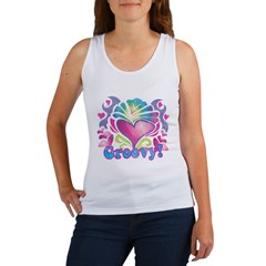 Hippie Groovy Heart Design Women's Tank Top