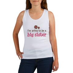big sister pink brown flower Women's Tank Top