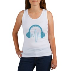 Blue Headphones Maternity Tee (Dark) Women's Tank Top