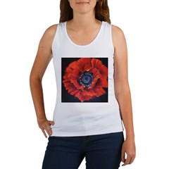 Red Poppy on Black Women's Tank Top