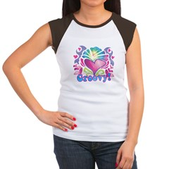 Hippie Groovy Heart Design Women's Cap Sleeve T-Shirt
