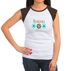 Adriana - Blue/Brown Flowers Women's Cap Sleeve T-Shirt