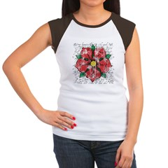 Red Rose Women's Cap Sleeve T-Shirt