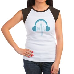 Blue Headphones Maternity Tee (Dark) Women's Cap Sleeve T-Shirt