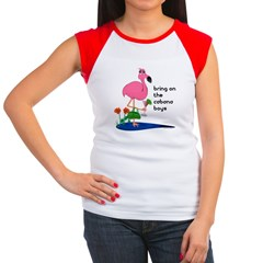 Flamingo on vacation with martini on Women's Cap Sleeve T-Shirt