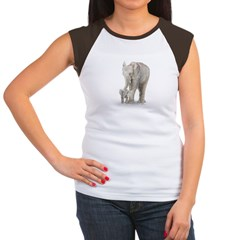 Mother and baby elephant Women's Cap Sleeve T-Shirt