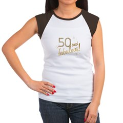 50 and Fabulous Gold and Glitter Women's Cap Sleeve T-Shirt
