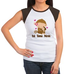 1st Time Mom Monkey Gift Women's Cap Sleeve T-Shirt