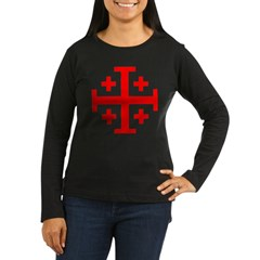 Crusaders Cross (Red) Women's Long Sleeve Dark T-Shirt