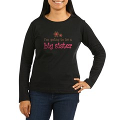 big sister pink brown flower Women's Long Sleeve Dark T-Shirt