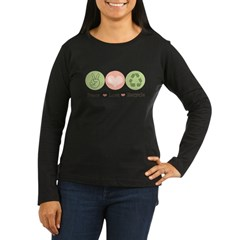Recycling Peace Love Recycle Women's Long Sleeve Dark T-Shirt