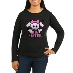 Pink bow skull big sister Women's Long Sleeve Dark T-Shirt