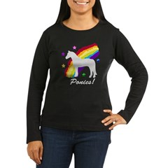 Rainbow Ponies! Women's Long Sleeve Dark T-Shirt