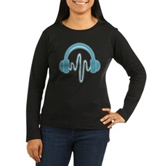 Blue Headphones Maternity Tee (Dark) Women's Long Sleeve Dark T-Shirt