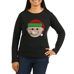 Funny Christmas Elf Maternity Tshirt Women's Long Sleeve Dark T-Shirt