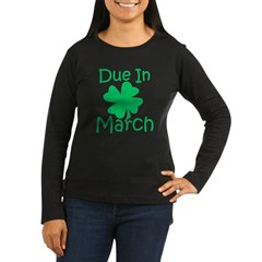 Due In March - Lucky Maternity T-Shirt (dark) Women's Long Sleeve Dark T-Shirt