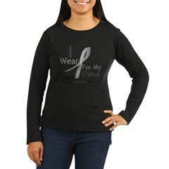 Gray Ribbon Friend Women's Long Sleeve Dark T-Shirt
