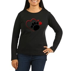 Dog Paw Print with Love Hear Women's Long Sleeve Dark T-Shirt