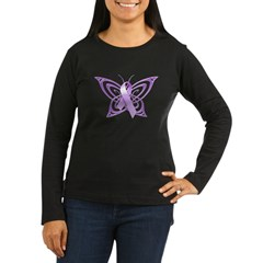 Alzheimer's Awareness Butterfly Women's Long Sleeve Dark T-Shirt