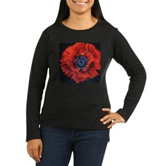 Red Poppy on Black Women's Long Sleeve Dark T-Shirt