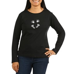 2-HandsandFeetTopCanvas Women's Long Sleeve Dark T-Shirt