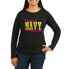Proud Navy Girlfriend Women's Long Sleeve Dark T-Shirt