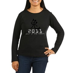 2011 Chinese New Year of The Rabbi Women's Long Sleeve Dark T-Shirt