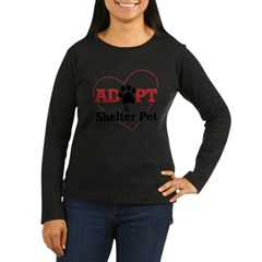 Adopt a Shelter Pet Womens PlusSz Scoop Neck Shirt Women's Long Sleeve Dark T-Shirt