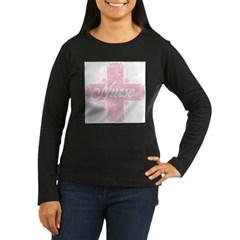 Nurse Pink Lacy Cross Women's Long Sleeve Dark T-Shirt