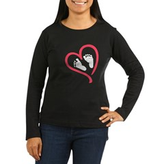 baby feet heart Women's Long Sleeve Dark T-Shirt