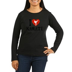 I Heart Karate - Girl Women's Long Sleeve Dark T-Shirt