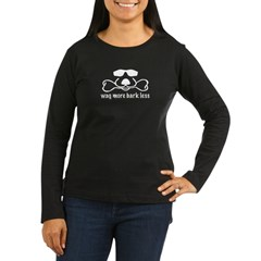wag_more_bark_less Women's Long Sleeve Dark T-Shirt
