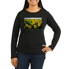 Sunflowers in field Women's Long Sleeve Dark T-Shirt