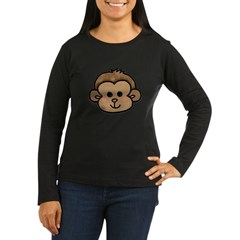 Monkey Face Women's Long Sleeve Dark T-Shirt
