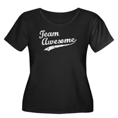 Team Awesome Women's Plus Size Scoop Neck Dark T-Shirt