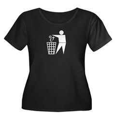 Trash Religion 3 black 2 (png) Women's Plus Size Scoop Neck Dark T-Shirt