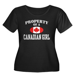 Property of a Canadian Girl Women's Plus Size Scoop Neck Dark T-Shirt