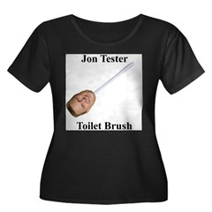 Jon Tester Toilet Brush Women's Plus Size Scoop Neck Dark T-Shirt
