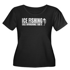 ICE FISHING Women's Plus Size Scoop Neck Dark T-Shirt