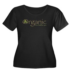 Organic for a healthier you Women's Plus Size Scoop Neck Dark T-Shirt
