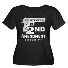 2nd Second Amendment Security Women's Plus Size Scoop Neck Dark T-Shirt