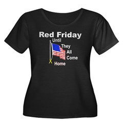 Red Friday (yellow ribbon) Women's Plus Size Scoop Neck Dark T-Shirt