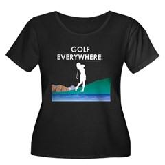 Golf Everywhere Women's Plus Size Scoop Neck Dark T-Shirt