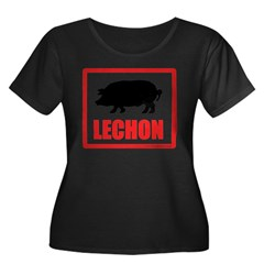 Lechon Women's Plus Size Scoop Neck Dark T-Shirt