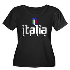 Italia soccer t-shirts 4 Star Italia shir Women's Plus Size Scoop Neck Dark T-Shirt