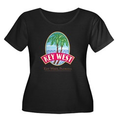 Retro Key West - Women's Plus Size Scoop Neck Dark T-Shirt