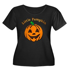 Little Pumpkin Women's Plus Size Scoop Neck Dark T-Shirt