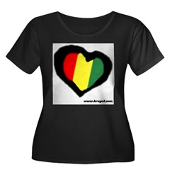 Rasta Hear Women's Plus Size Scoop Neck Dark T-Shirt
