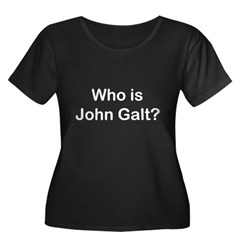 Who is John Galt.psd Women's Plus Size Scoop Neck Dark T-Shirt